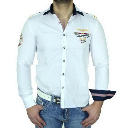 Tony Copper Slim Fit Uomo Camicia manica lunga POLO POLO Thirt BIANCO tc-10013