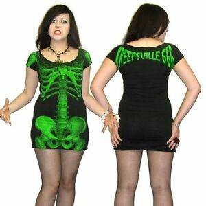 Kreepsville-666-skeleton-dress-black-with-green-skelly-alternative-gothic-wear
