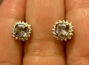 Designer-9-Ct-Yellow-Gold-Tanzanite-And-Diamond-Cushion-Halo-Earrings-Studs