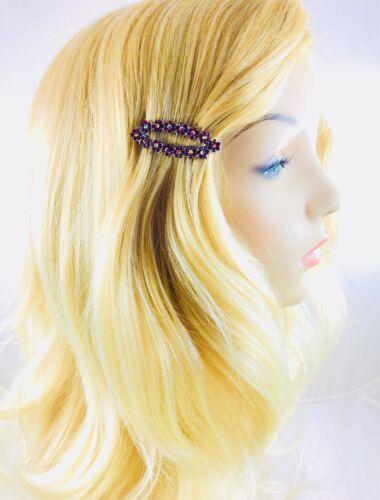 USA Flower Magnet Hair Clip Hairpin  Rhinestone Crystal Barrette Dark Red A9
