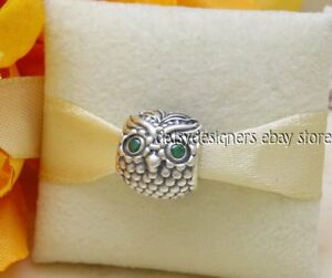 f7f948347 NEW Authentic Pandora Silver WISE OWL Green Charm 791211CZN RETIRED ...