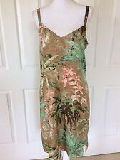 Tommy Bahama Silk Exotic Wild Print Dress Tan Green Cruise Beach Sz 12
