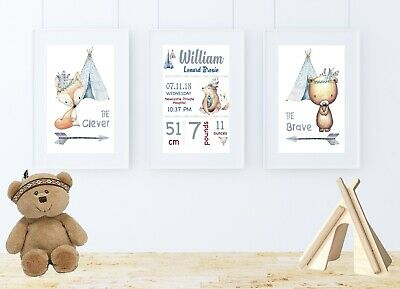 Baby Boy Nursery Wall Art Prints Tribal Boho Woodland Animals Set Of 3 Ebay