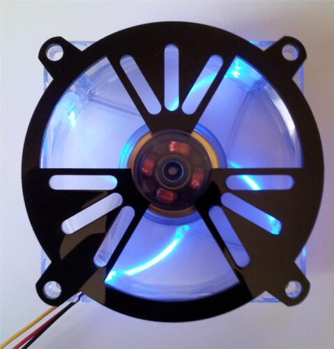 Custom 80mm NUCLEAR RADIATION Computer Fan Grill Gloss Black Acrylic Cooling