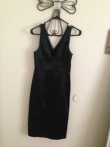 24edf9c0e217d3 Image is loading Bebe-Black-Pencil-Dress-With-Top-Lace-Trim-