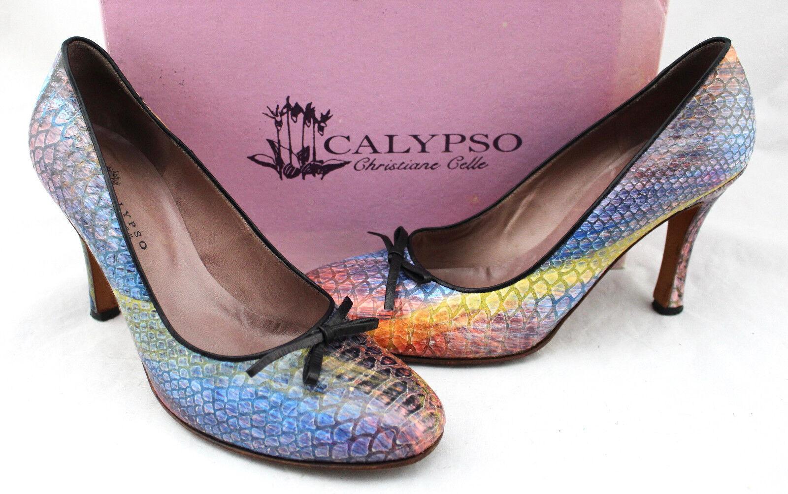 195 Calypso Christiane Celle Rainbow Snakeskin Leather Bow Bow Bow Pumps Heels 41 10.5 866e0d