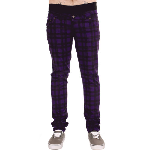Desagüe Elastizados Ajustados Pantalones Vaqueros Púrpura A Cuadros Tartán Hombre Unisex Rock a cuadros