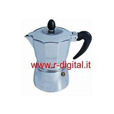MACCHINETTA CAFFE ESPRESSO 3 TAZZINE COPERCHIO IN VETRO 3 TAZZE PER CAFFE
