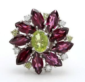 Verde-Natural-Peridoto-Turmalina-amp-Diamantes-17-50Ct-18k-Oro-Blanco-Women-Anillo