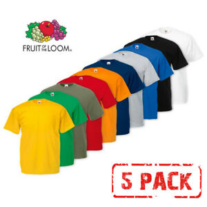 5-PACK-MEN-039-S-FRUIT-OF-THE-LOOM-PLAIN-100-COTTON-BLANK-T-SHIRT-TEE-039-S-T-SHIRT-NEW