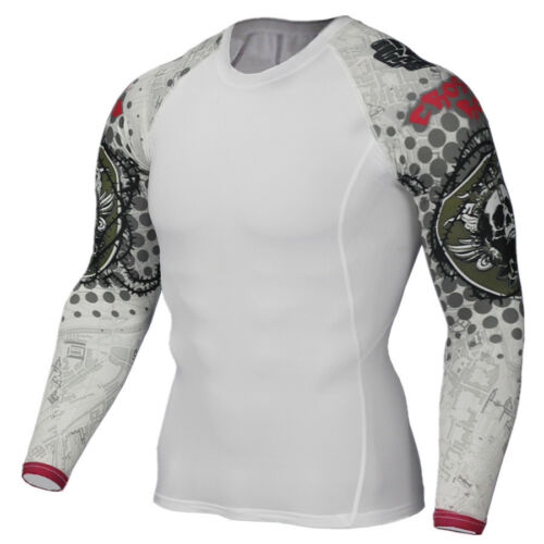 Mens Workout Sports T Shirt Athletic Dri fit Gym Compression Tops Long Sleeved