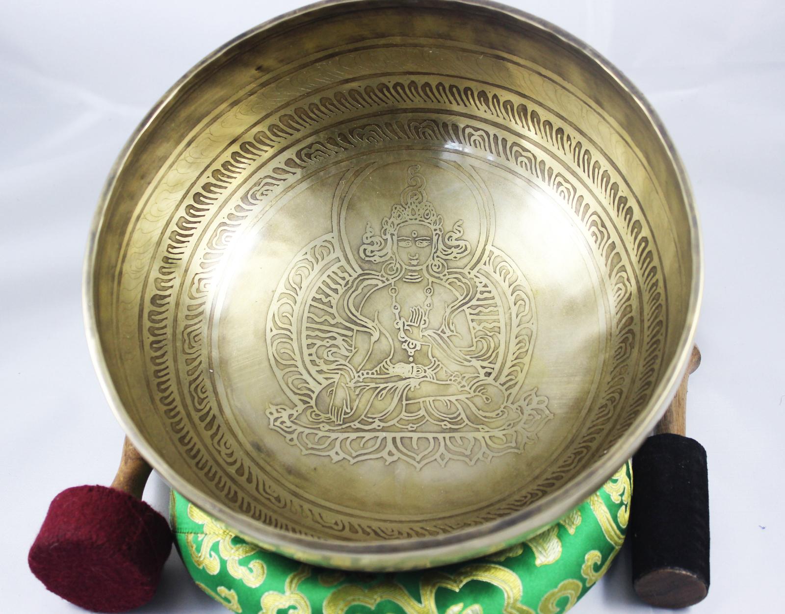 NHZ 9  GrünTara &Om MandalaBuddhist Mantra CarvingMeditationSinging BowlSet