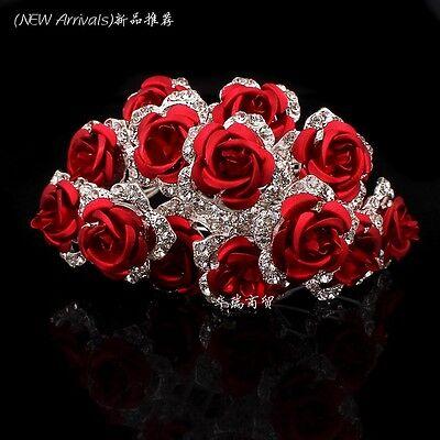 Wholesale Flower Crystal Rhinestone Women Wedding Bridal Hair Pins Clips Slides