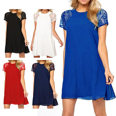 Women's Summer Sexy Lace Floral Casual Short Evening Dress Party Mini Dress