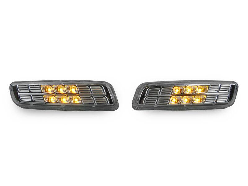 DEPO JDM Smoke Amber Front+Rear Red LED Side Marker Light For 99-03 Lexus RX300