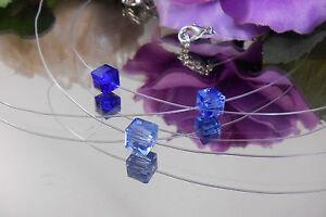 Unsichtbare-Halskette-schwebender-Kristallglas-Wuerfel-Blau-Toene-Nylon-transpar