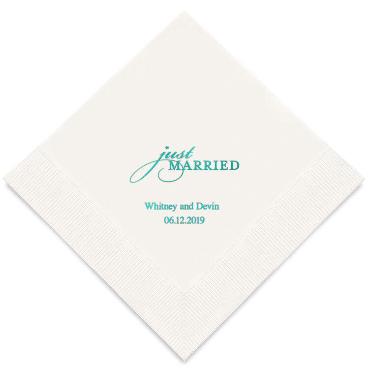 300 Just Married Personalized Wedding Luncheon Napkins