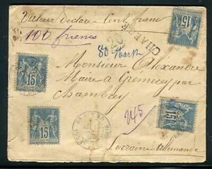 Enveloppe En Chargé De Paris Pour Chambery En 1895 - M10