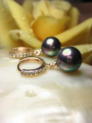 Arete rotgold pendientes 10 mm muschelkernperlen perlas joyas