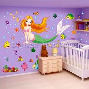 Details About Cute Cartoon Mermaid Princess Wall Sticker Kids Room Nursery Decor Mural Decals