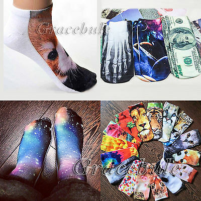New 3D Printed Unisex Low Cut Ankle Socks Multicolor Animal Design Free Shipping