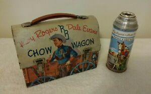 Vintage Roy Rogers Dale Evans Original Chow Wagon Dome Lunch Box W/ Thermos Old.