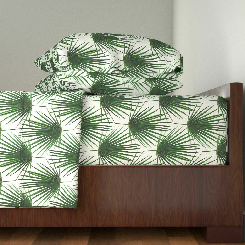 Palm Leaf Leaves Leaves Palm Tropical 100% Cotton Sateen Sheet Set by Roostery