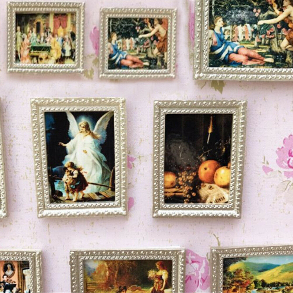 Vintage Miniature Dollhouse Framed Wall Painting 1:12 Doll Home Decor Acces T ZT