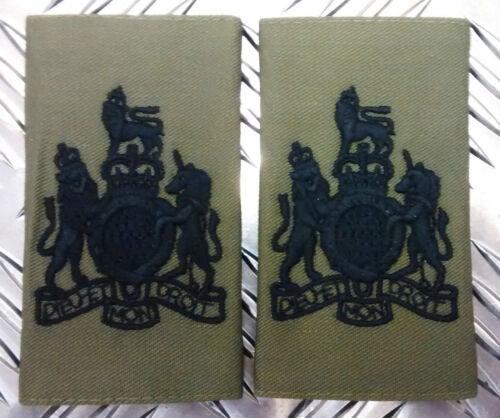 Epaulettes Genuine British Military OD WARRANT OFFICER Rank Slides Brand NEW