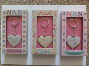 Nan Metallic Key Ring. Great Gift For Birthday, Mothers Day. Choice of 3 Designs