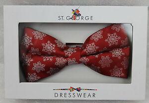 St-George-Dressware-Designer-Fliege-Rot-mit-Schneeflocken-Winter-400660-NEU