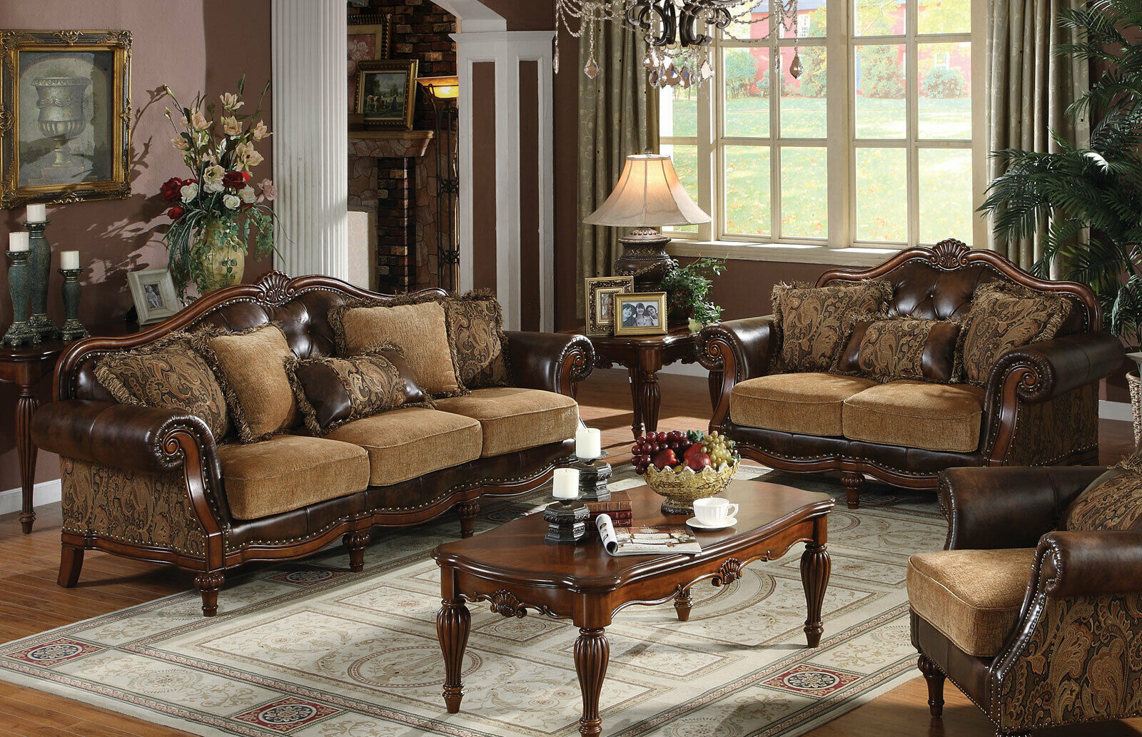 Brown Faux Leather Chenille Sofa