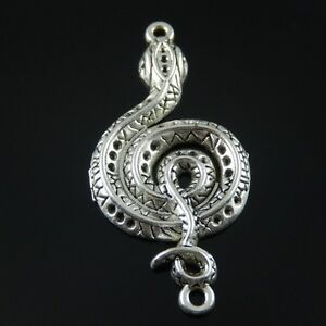 15pcs Antiqued Silver Alloy Snake Shaped Necklace Pendant Jewelry Crafts Finding