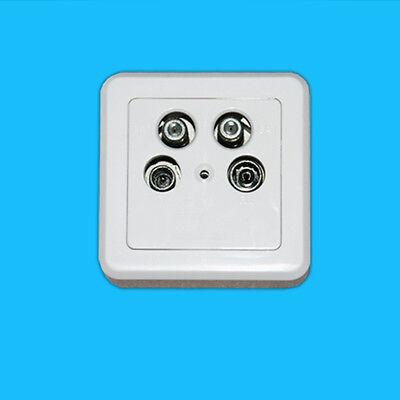 4 Loch 4 fach Antennendose Twin Digital SAT Kabel Dose HD 3D Aufputz Unterputz