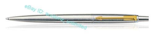 Gold Trim Fine Quink Blue Ink Brand New Parker Jotter Steel GT Ball Point Pen