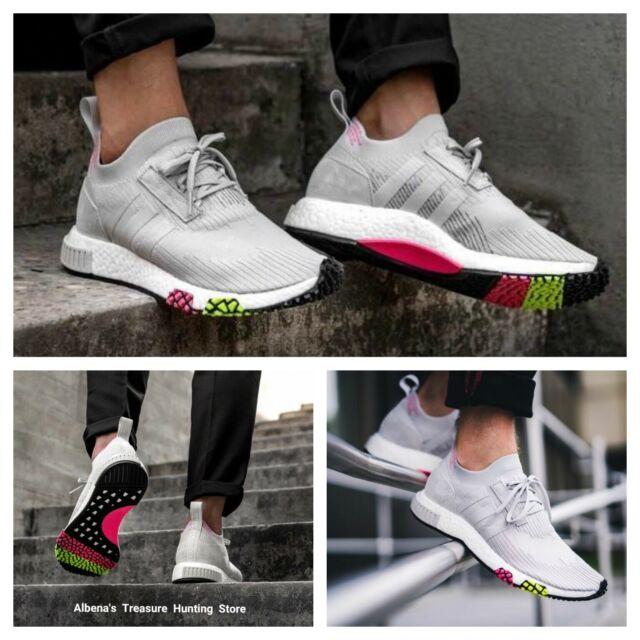 adidas NMD Racer Primeknit Shoes SNEAKERS Mens Sz 10 CQ2443 Grey Pink