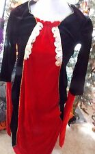 Vampiress Witch Woman's Long Red Black Dress One Size Talle Halloween Costume