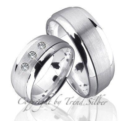 2 Silber Ringe Trauringe M. 3 Stein Inkl. Gravur J88-3
