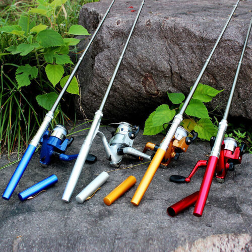 Mini Portable Pocket Telescopic Pen Aluminum Alloy Fishing Rod Pole+Reel+Line RF