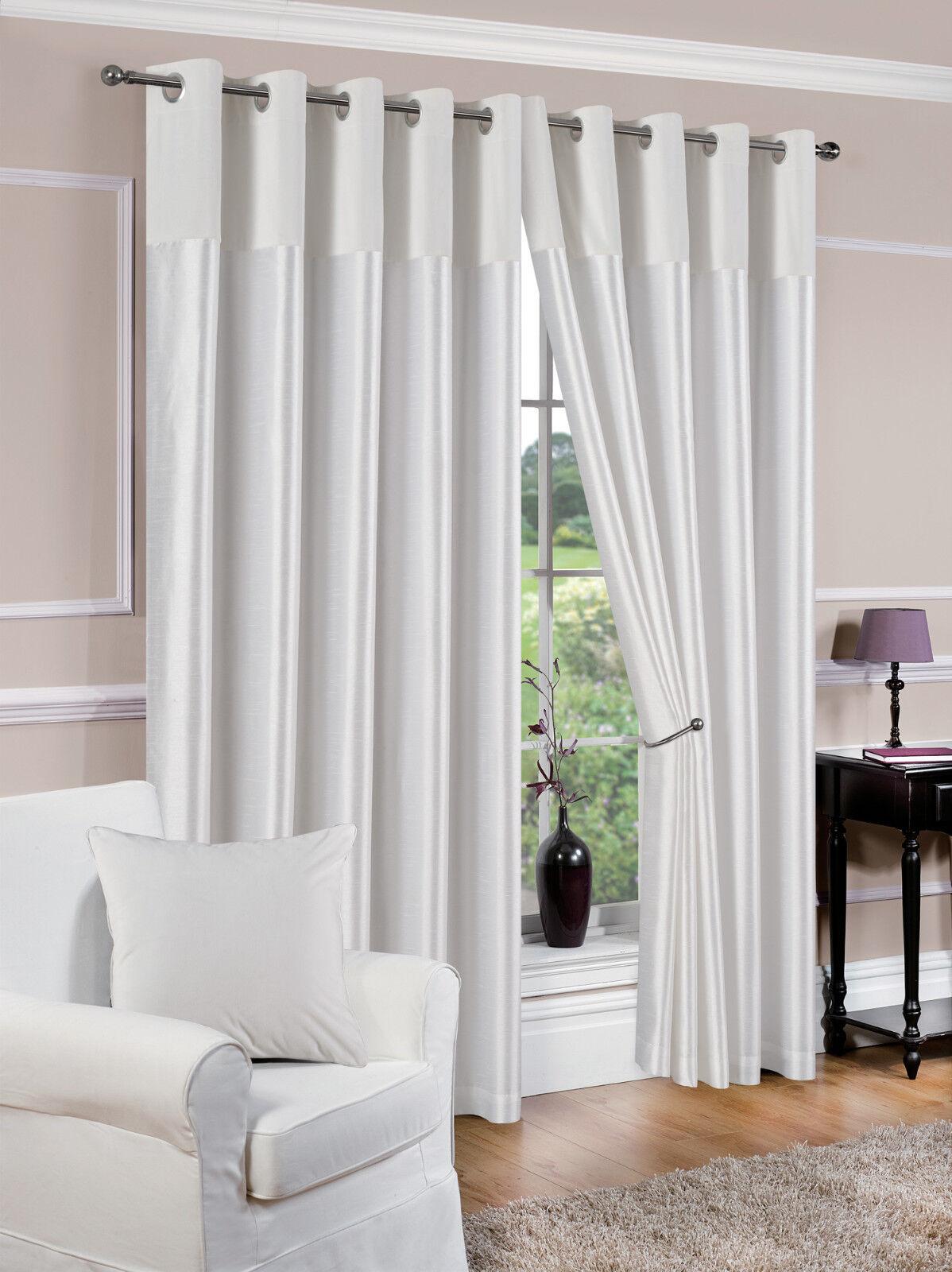 Rideaux doublés à œillets blanc Derwent tailles au choix | La Mise à Jour De Style