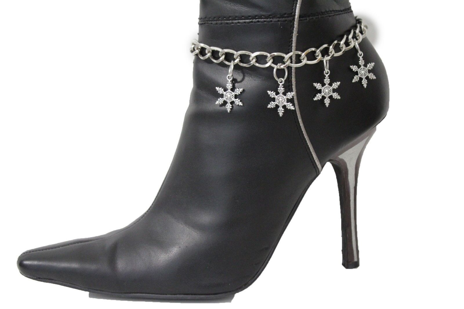 Women Boot Bracelet Metal Silver Metal Chain Heels Shoe Snowflake Ornament Charm