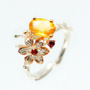 Gift-Lover-Anniversary-jewelry-Natural-Citrine-925-Sterling-Silver-Ring-RVS108
