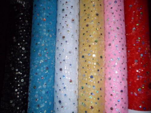 Sparkly Sequin Hologram Diamante Raindrop Organza Voile Fabric Dance Craft Net