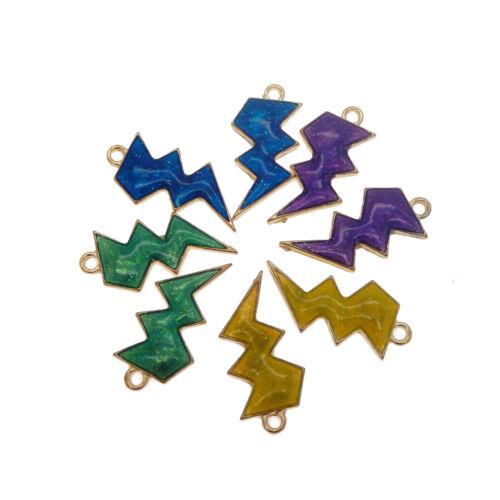 Lot de 8 couleurs mélangées émail plaqué or métal Lightning symbole Pendentifs Charms