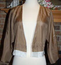 Anthropologie A Common Thread 100% Silk Kimono Style Top Jacket Taupe Brown SZ S