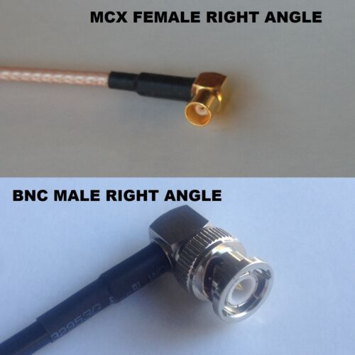 RG316 MCX FEMALE ANGLE to BNC MALE ANGLE Coaxial RF Cable USA-US