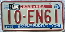 FREE UK POSTAGE  Nebraska 1976 Bicentennial USA License Number Plate 10-EN61