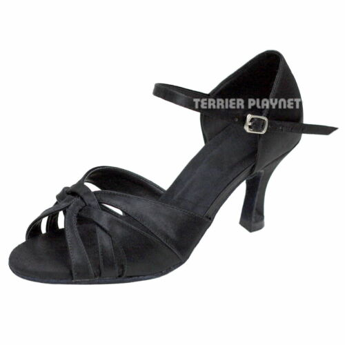 TPS Black Satin Latin Ballroom Salsa Custom-made Dance Shoes D883
