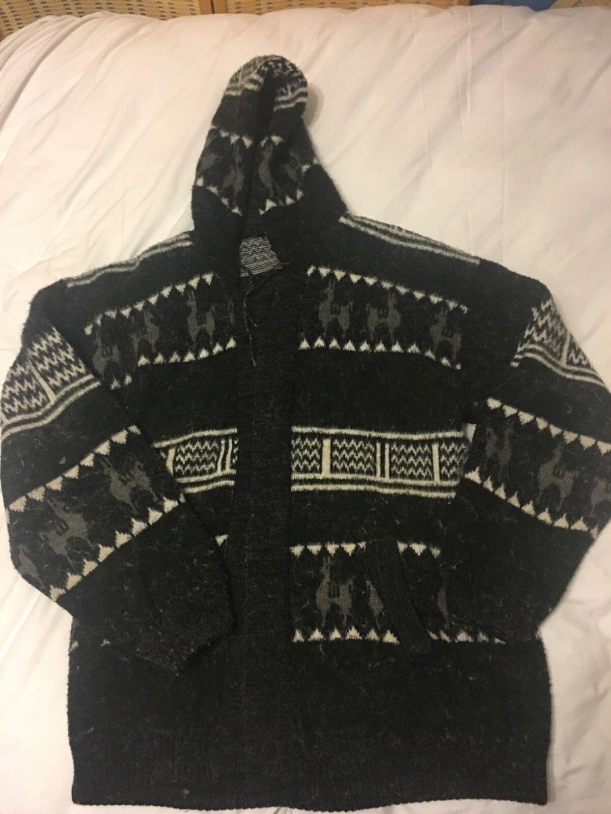 Alpaca  Women Hooded Cardigan Wool Acrylic size LG EUC