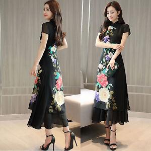 ec814adf1a1 2018 Retro Chiffon Short Sleeve Cheongsam Ao Dai Party Prom Cocktail ...